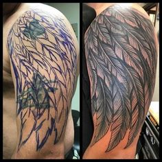 olio: Birds Tattoo by Ant from Red 5 - Virginia Beach, VA. Find a local tattoo shop near you in our Tattoo Artist and Studio Directory Forearm Cover Up Tattoos, Cover Up Tattoos For Men, Tattoos For Women Half Sleeve, Cover Tattoo, Sleeve Tattoos, Tattoos For Guys, Eagle Wing Tattoos, Wing Tattoo Men, Wing Tattoo Designs