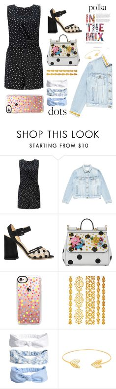 """""""Polka dots!"""" by fluffy-bunny4 ❤ liked on Polyvore featuring Miss Selfridge, Frame, Charlotte Olympia, Dolce&Gabbana, Casetify, Lord & Taylor, PolkaDots and creative"""