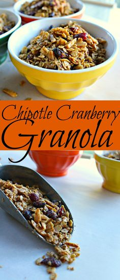 Chipotle Cranberry Granola Talk about a delicious granola that give you the sweet and spicy craving we all love! |gluten free granola| |chipotle cranberry granola| |gluten free snacks| |easy recipe| |granola recipe|