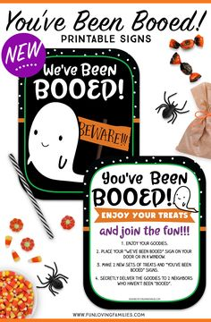 You've Been Booed free printables and ideas. We love playing the boo game in our neighborhood. Find out how and grab the free printables. Halloween Crafts For Kids, Halloween Games, Halloween Boo, Halloween Activities, Holidays Halloween, Halloween Treats, Halloween Traditions, Youth Activities, Language Activities