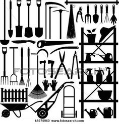 Gardening Tools Silhouette Clipart
