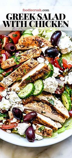 Greek Salad with Chicken salad greek chicken mediterranean Crisp crunchy and fresh with tangy Mediterranean flavor this Greek salad topped with chicken can be meal prepped ahead for weekday lunches or a light and healthy dinner too # Greek Chicken Salad, Chicken Salad Recipes, Healthy Salad Recipes, Greek Chicken Recipes, Healthy Salad With Chicken, Delicious Recipes, Fresh Salad Recipes, Italian Chicken Salad Recipe, Healthy Chicken Meals