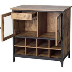 Wine Cabinet and Dry Bar Liquor Rack Rustic Storage Bottle Glass Holder Furnitur #BetterHomes