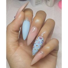 sugarnailshopshiny nudematte bluebling #nailpromote #nailoftheday #instadaily #dopenails #nailporn #nailswag #nails #nailart #kawaii #cute #gelnails #acrylicnails #3dnailarts #3dnailart #pink #swarovski #ネイル #longnails #bossnails #nailporn #dailycharme #bgdn #blackgirlsdonails