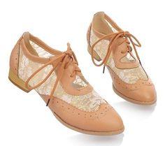 Women Vintage Flat Pump Lace Up Brogues Oxfords Dress Low Heels Floral Shoes | eBay