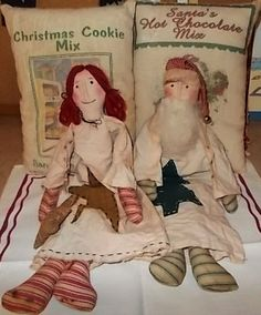 Primitive Santa and Raggedy Finished Dolls