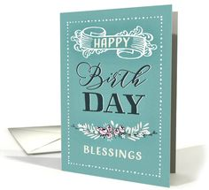 Happy Birthday, Religious, Blessings, Scripture, Banner, Floral Wreath card