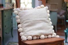 Pompom Linen Pillow Handmade Hand dyed Linen Pillow with