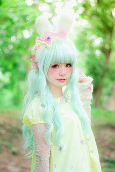 cute fashion green forest yellow bunny rabbit lolita Japanese Fashion angelic