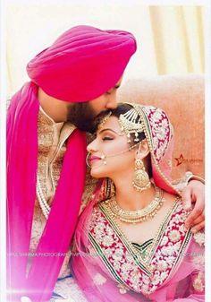 Indian Wedding Couple, Wedding Couple Photos, Sikh Wedding, Indian Wedding Outfits, Wedding Pics, Punjabi Wedding, Wedding Goals, Indian Weddings, Pre Wedding Poses
