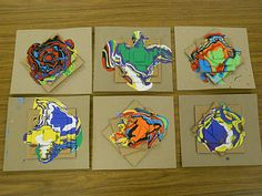 Fifth Graders enjoyed their sculptural drip paintings modeled after the works of Holton Rower. This was a fun line study, where students could see the lines in motion. Once they finished this project they were asked to write a paragraph on the process or their opinion of the artwork.