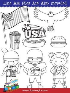 Black and white line art files are also included as part of this collection of American clip art.