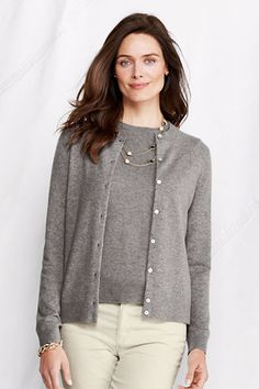 Women's Long Sleeve Classic Cashmere Crew Cardigan from Lands' End