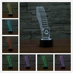Special 3D Folding Poker LED Strip 7Color Change Desk Table Light Lamp Usb Led 3d night light Powerbank Table Lamp(China (Mainland))