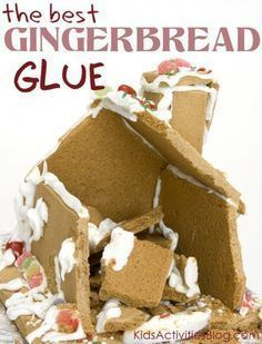 """Avoid gingerbread house collapse with this easy recipe for the best gingerbread house glue. Ever! No fail recipe for Christmas """"Gingerbread Glue"""" - it will make it easier for kids to build"""