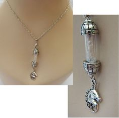 Unicorn Horn in Glass Vial Pendant Necklace Jewelry Handmade NEW Chain Silver #Handmade #Pendant