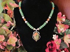 Jade and Goldstone Necklace with Unakite by RomanticThoughts, $38.00