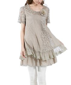 Look what I found on #zulily! Khaki Tiered Lace Top - Plus by Simply Couture #zulilyfinds