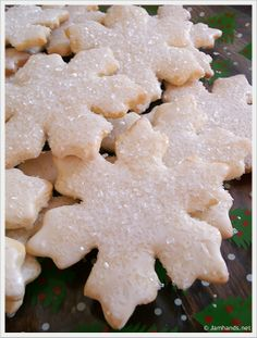 Snowflake Sugar Cookies - This recipe is an oldie but a goodie, coming from Betty Crocker's Cooky Book, published in 1963. It is a crisp sugar cookie with a sweet and sparkly garnish. Be sure not to over bake,, the cookies should just barely have a hint of browning, if at all. Enjoy! Psst! Good with any cookie cutter.