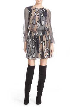 Diane von Furstenberg 'Kelley' Print Silk Smocked Blouson Dress available at #Nordstrom