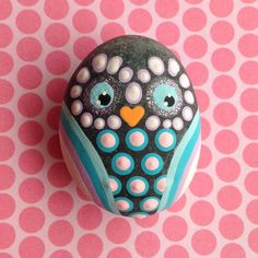 Hand Painted Stone Owl Magnet!
