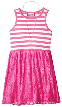 1a860f3b834c Dreamstar Dream Star Girls  Stripe Tank Dress with Lace Skirt and Necklace  Striped Tank Top
