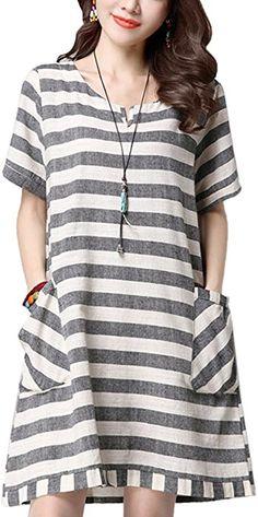 e2c6e4f9539 Amazon.com  CDCLOTH Women s Summer Loose Striped Short Sleeve Cotton and  Linen Dress Dark Grey  Clothing