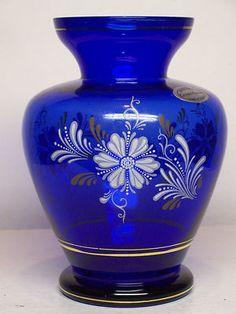 Cobalt Blue Crystal Glass Vase Gold Trim Floral Pattern Handmade Brazil Label