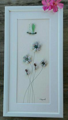 Pebble art flowers Flowers decor Anniversary by pebbleartSmiljana