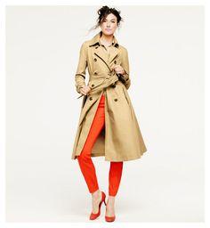 orange pants, trench coat