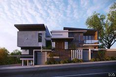 Minimalist House Design, Minimalist Architecture, Modern Architecture House, Modern House Design, Modern Bungalow Exterior, Bungalow House Design, House Front Design, Modern Tropical House, Facade Design
