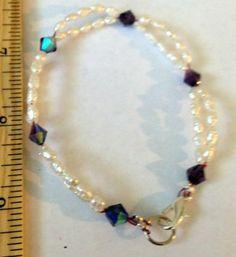 """Fancy HM by me FW Pearl & Purple AB Crystal bead bracelet 8"""" long OOAK 75 SALE"""