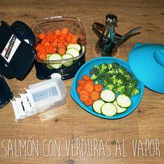Hoy toca comer salmón a la plancha con verduras al vapor. Menuda mano tiene en la cocina Patricia Almirall del blog Molinillo de Café!