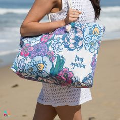 #ErinCondren Oversized tote & #Personalized #FlipFlops in #FloralInk