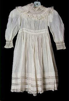 Dress, girl's, white cotton batiste, netted lace yoke and cuffs, 1891-1893