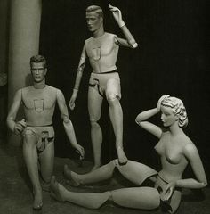 Male and female poseable mannequins by Siegel - c.1940