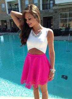 pink cutout dress #swoonboutique