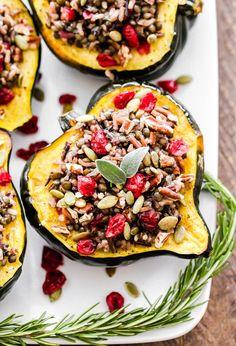 Lentil, Wild Rice and Cranberry Stuffed Squash recipe