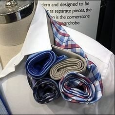 Not only dramatic visually, these Alfani Necktie Rollups as Epaulette also demonstrate a way to deal with necktie tail leftovers in a Merchandising display Roll Ups, Merchandising Displays, Window Shopping, Retail, Tangled, Sleeve, Retail Merchandising