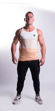 Extra Off Coupon So Cheap Tremor Apparel Peach Tricolour Tank Top Small PP 10 Printing Labels, Color Combinations, Tank Man, Peach, Sporty, Tank Tops, Model, How To Wear, Clothes