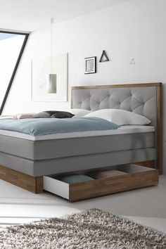 Luxurious Boxspringbed Moroni country-style with two drawers ✓ Socketable walnut ✓ 3 degrees of hardness up to 150 kg ✓ 4 and 5 mattress toppers combined flexibly Dream House Exterior, Dream House Plans, Home Staging, Bed Furniture, Furniture Design, Cozy Bedroom, Room Inspiration, Home Kitchens, Mattress