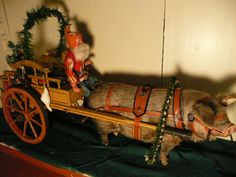 Antique rare German Santa & his Piggy pulling the wagon candy container // I just love this !   Photo via web...