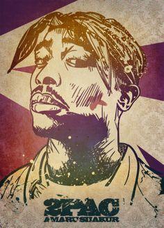 Hip Hop Legends - 2 Pac | #portrait #poster #design