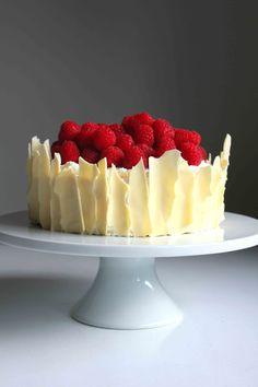 Lemon Raspberry Sponge Cake with White Chocolate Shards