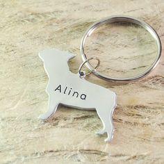 French Bull  Dog Keychain Pet  Memorial by Handmadenamenecklace
