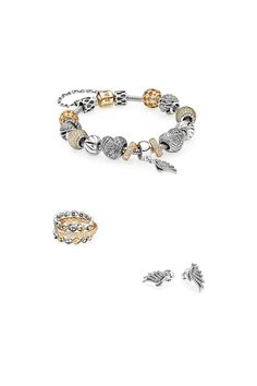 Combine PANDORA's new feather designs with charms in golden hues for a divine result. Wear the bracelet with matching rings and earrings to complete the look. #PANDORAbracelet #PANDORAring #PANDORAearrings
