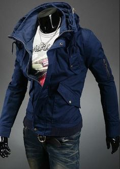 Features front zipper and button closure for extra warmth, turned down collar with a hood and a drawstring, side pockets and sleeve zipper pockets. unique-outfit.com