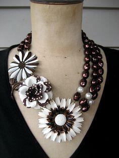 RESERVED Statement Necklace, Enamel Flower Necklace, Multi Chain Necklace, Bib Necklace - Cookies and Cream