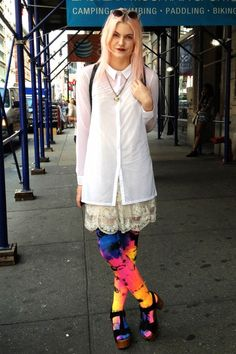 Fashion stylist Alison Isbellbrings herSteve Madden clogsto life with a pink coif, a vintage beaded dress, a men's button down shirt and vibrant tie-dyed tights.