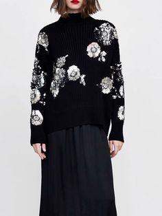 8a13342b301 Sooooo love this chic sweater! Black Women Sweater High Neck Sequin Detail  Long Sleeve Sequin